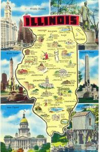 Illinois -Map Postcard 1957 till Runo från vännen Texas