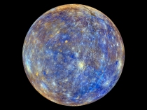 Merkurius som en färglagd boll