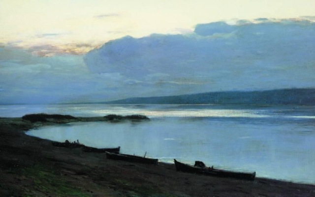 Levitan - Evening at river Volga